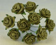 1.5cm DARK OLIVE / AVACADO GREEN Mulberry Paper Roses